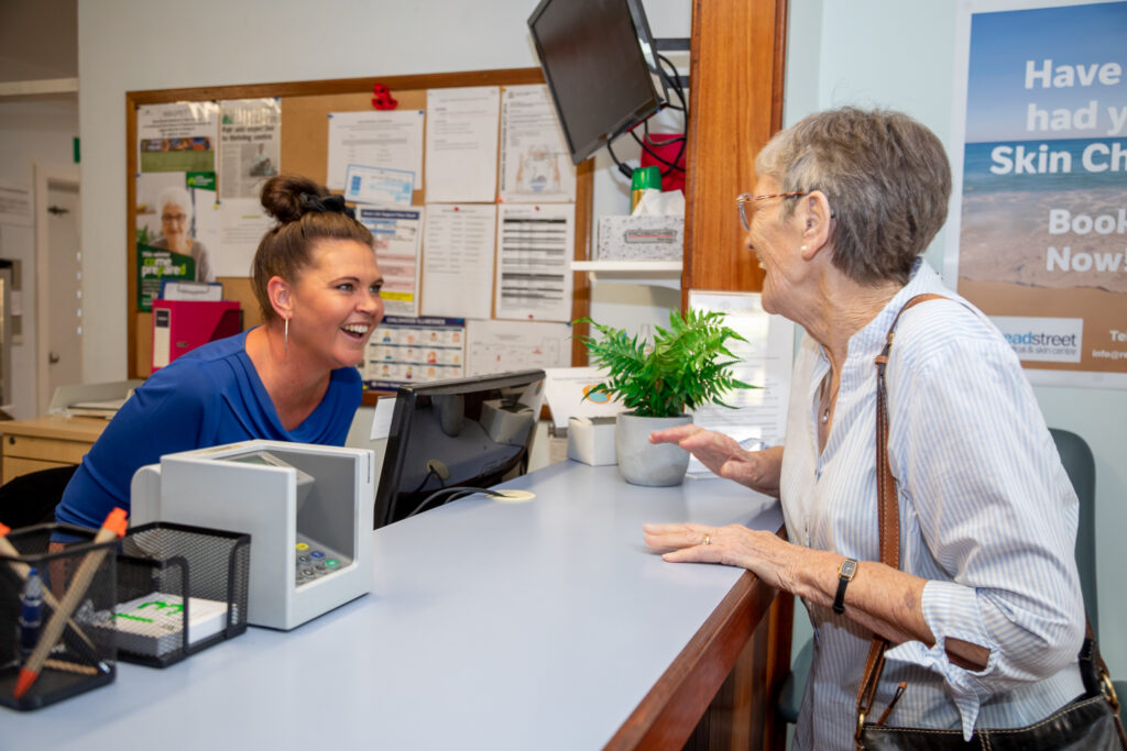 Patient engaging with nurse